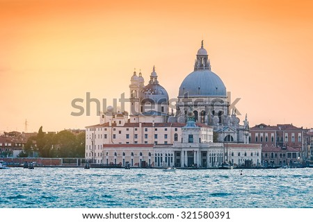 Church Saint Maria della Salute at sunset, Venice, Italy #321580391