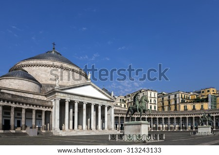 Church San Francesco di Paola in Naples, Italy, built in 1816, dedicated to Saint Francis of Paola. The church's design is reminiscent of the Pantheon in Rome. #313243133