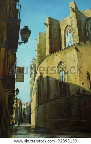church Santa Maria del Mar in Barcelona, painting on a canvas oil,  illustration