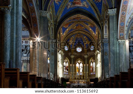 Church Santa Maria sopra Minerva in Rome, Italy is one of the few examples of Gothic architecture. Dating from the 13th century it was the traditional stronghold of the Dominicans.