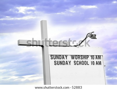 Church service schedule with light and a cross.