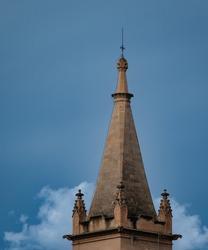 Church steeple on a sunny winter's day in El Terreno district of Palma de Mallorca, Balearics Spain. High quality photo