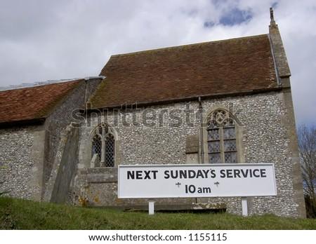 Church Sunday service sign