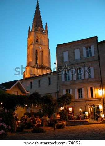 Church tower and city center of Saint Emilion in the Bordeaux, France: world famous for its red wine