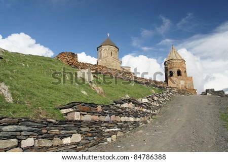 Church Tsminda samebain Caucasus, Georgia. - stock photo