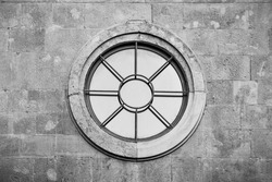 Church window in black and white