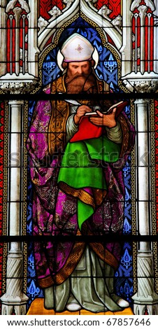 Church window in the Dom of Cologne, Germany, depicting Saint Augustinus, one of the six Latin Church Fathers.