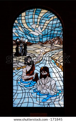 Church Window pane - Baptism of Jesus Christ by John the Baptist - stock photo