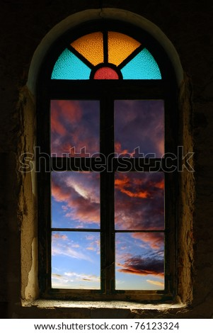 church window with sunset