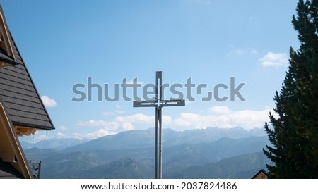 Church with people. Cross and nature