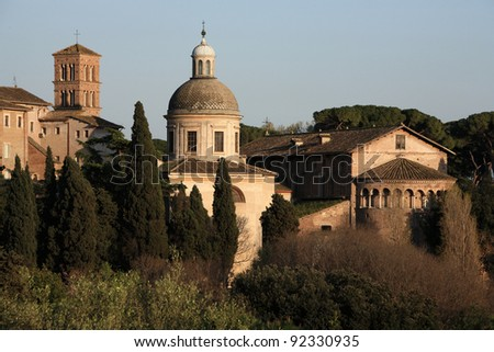 Churches of Rome seen from Palatine Hill
