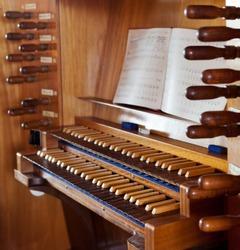 Churchorgan with keyboard and notes