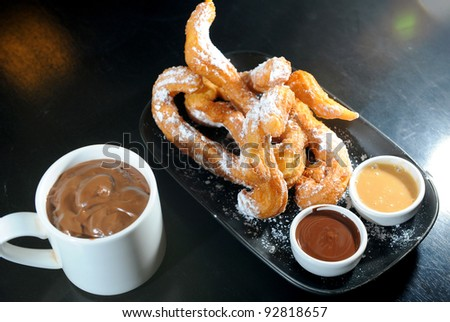 churros chocolate, a typical Spanish sweet snack