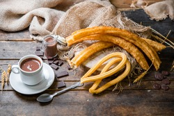 churros typical of Spain. Porras. typical food of Madrid.churro with chocolate