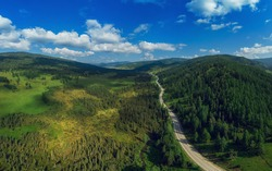 Chuysky trakt road in the Altai mountains. One of the most beautiful road in the world. Aerial drone shot
