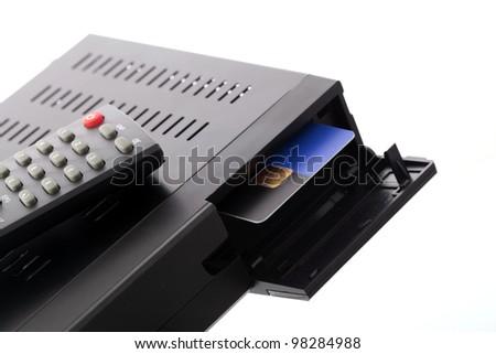 CI slot in satellite receiver Zdjęcia stock ©
