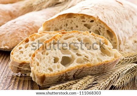 ciabatta with ears on the wooed table
