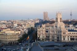 Cibeles fountain and Madrid city hall in Alcala street