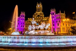 Cibeles fountain at Plaza de Cibeles in Madrid in a beautiful summer night, Spain
