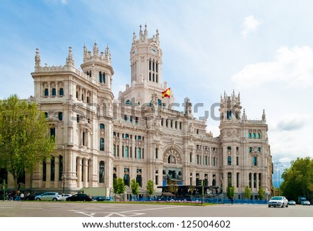 Cibeles Palace is the most prominent of the buildings at the Plaza de Cibeles in Madrid, Spain.