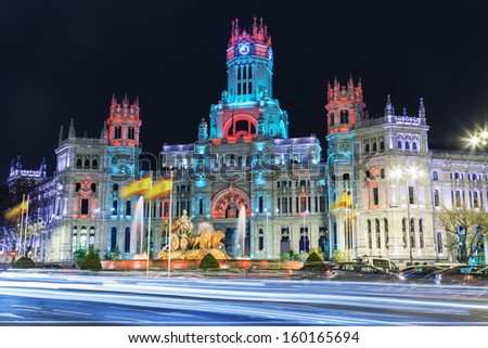 Cibeles square at Christmas Madrid Spain Cibeles fountain in front of the The City Hall or the former Palace of Communications under a special illumination