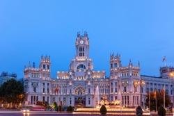 Cibeles Square or Plaza de Cibeles, in downtown Madrid, Spain