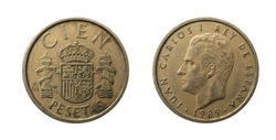 Cien pesetas coin of Spain of the year 1989 obverse and reverse with the portrait of Juan Carlos I King of Spain.
