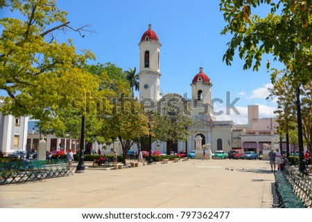 Cienfuegos, Cuba - Cathedral of the Immaculate Conception seen from Plaza Jose Marti