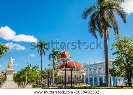 Cienfuegos Jose Marti central park with palms and historical buildings, Cienfuegos Province, Cuba