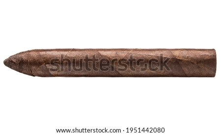 Cigar Torpedo. Handcrafted Maduro cigar made with real tobacco leaves. Smoking causes addiction and cancer. Nicotine Damage your health. Macro photo. Cigars from Cuba Havana. White isolated background Foto stock ©