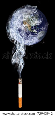 Cigaret smoke polluting atmosphere. Earth globe image provided by NASA (http://visibleearth.nasa.gov/view_rec.php?id=2429).