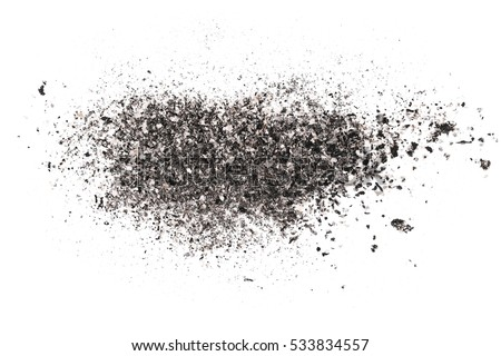 cigarette ash isolated on white background, texture