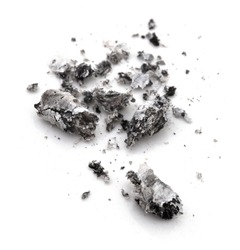 Cigarette ash isolated on white background with shadow reflection. Ash from cigarette isolated on the white background. Smoking waste. Cigarette waste.