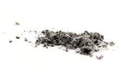 cigarette ash on white