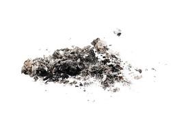 cigarette ash on white background