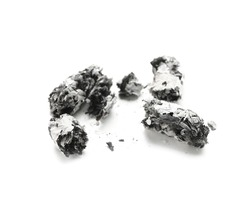 Cigarette ashes on white background