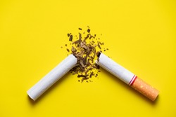 cigarette broken on yellow background and tobacco leaf blast out side with light top to down, modern quitting concept.