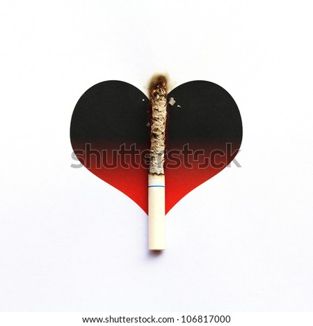 Cigarette burnt on gradient graphic heart