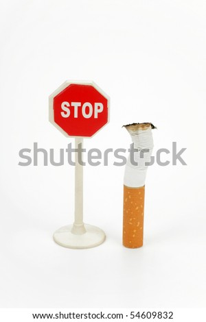 Cigarette butt and sign stop isolated on white background