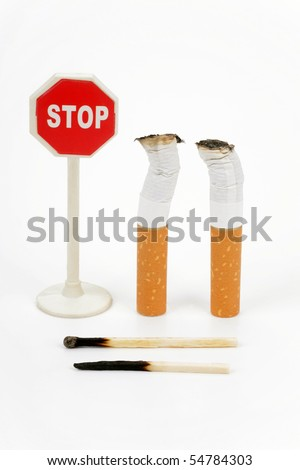 Cigarette butt and sign stop on a white background