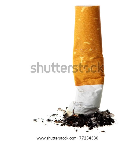 Cigarette butt close-up isolated on the white background