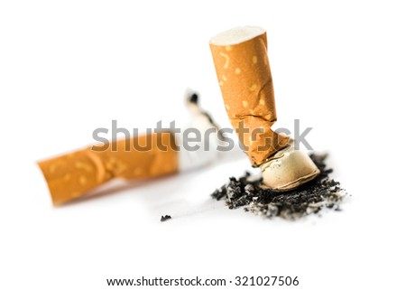 Cigarette butt isolated on white