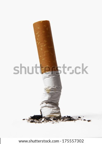 Cigarette butt isolated on white background.