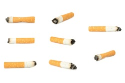 cigarette butt isolated on white background single.