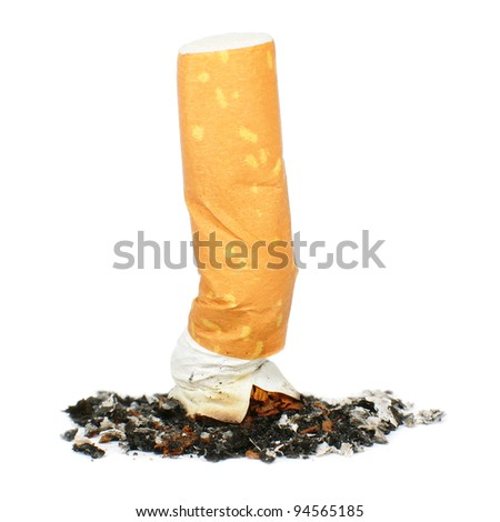 Cigarette butt isolated on white, smoking concept