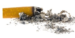 Cigarette, butt with a scattering of ash isolated on white background close-up. Detail for design. Design elements. Macro. Full focus.