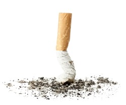 Cigarette butt with ash, isolated