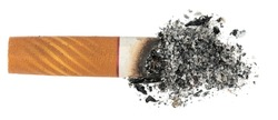 Cigarette butt with ash isolated on white background. goby consumed cigarettes. Stop smoking
