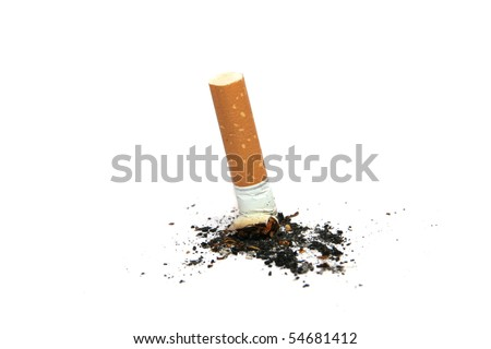 cigarette butt with ashes isolated on white