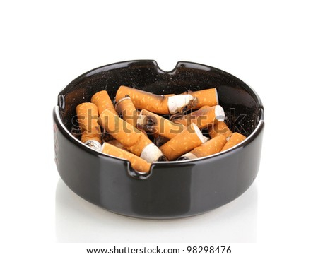 Cigarette butts in ashtray isolateed on white